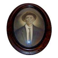 Antique Faux Tiger Wood Convex Glass Bubble Portrait Frame