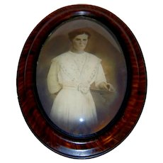 Antique Faux Tiger Wood Convex Glass Bubble Portrait Frame