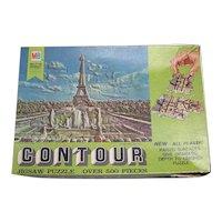 Vintage 1968 Milton Bradley Contour 3-D Puzzle Of Eiffel Tower & Paris In The Spring