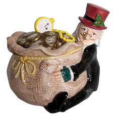 Vintage 1993 Fitz & Floyd A Christmas Carol Ebenezer Scrooge Figural Candy Bowl