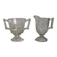 Vintage 1950-1972 Jeannette Glass Company Baltimore Pear Clear Glass Sugar & Creamer Set