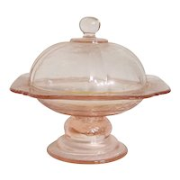 Vintage Recollection Pink By Indiana Glass Company Covered Butter Dish