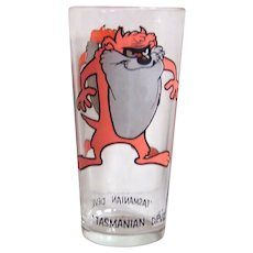 Vintage 1973 Pepsi-Warner Brothers Looney Tunes Tasmanian Devil Cartoon Character Promotional Glassware