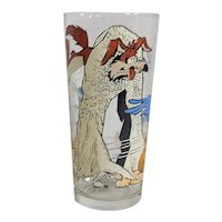 Vintage 1976 Pepsi-Warner Brothers Looney Tunes Wylie Coyote & Roadrunner Pig Cartoon Character Promotional Glassware