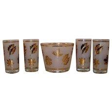 Vintage 1953-1978 Libbey Golden Foliage Pattern Glass ice bucket & Glassware Set