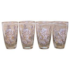 Vintage 1963 Discontinued Libbey Pattern Rose Bouquet Glass Highball Set