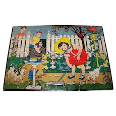 Vintage 1950's Built Rite Sta-N-Place Jigsaw Puzzle Playing In The Garden