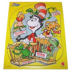 Vintage Mattel Toys 1997 Dr. Seuss Cat In The Hat Childrens Jigsaw Puzzle