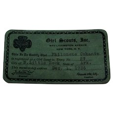 Vintage 1936 Official Girl Scouts Membership Card
