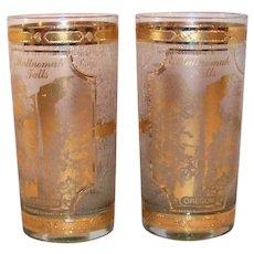 Vintage 22 KT Gold Gold Decal Overlay Culver Multnomah Falls Glassware Set