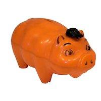 Vintage 1950's Westland Plastics Inc. Orange Plastic Pig Still Bank