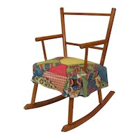 Vintage 1940's Style Wooden Padded Children's Doll Rocker