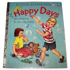 Vintage First Edition1955 Little Golden Book Titled Happy Days