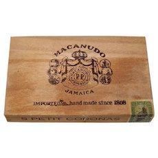 Vintage Tobacciana Jamaican Macanudo Petit Coronas Wooden Cigar Box