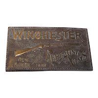 Vintage 1970's Winchester Repeating Arms Brass Belt Buckle