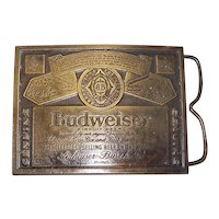 Vintage 1970's Budweiser Brass Belt Buckle