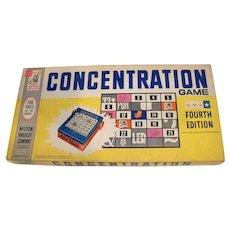 Vintage 1959 Milton Bradley Fourth Edition Board Game Concentration