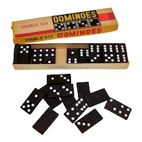 Vintage  1950's Made In Japan Double Six Wooden Block Domino Set