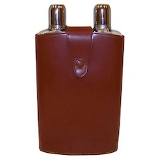 Vintage 1950's King Leather Company Of London Top Grain Cowhide Leather Double Flask