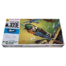 Vintage Hasegawa Messerschmitt Mc 109 E German World War II 1/72 Scale Plastic Model Airplane Kit