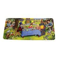 Vintage 1950's Alice In Wonderland Paint Palette Set Tin Box