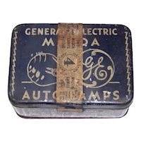 Vintage 1940's General Electric Mazda Auto Light Bulb Tin