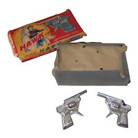 Vintage 1940's Embossed Tin Hawk Pistol Toy Cap Gun