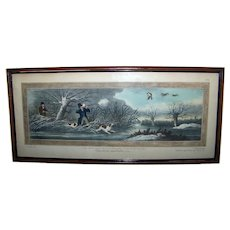 Antique Framed Etchings & Aquatints Hand Colored English Hunting Scenes