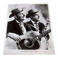 Vintage 1962 Promotional Black & White Photograph With Earl Scruggs & Lester Flatt Autographs