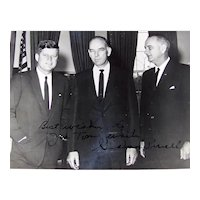 Vintage 1962 Original Autographed Type I Black & White Glossy Photograph Of John F. Kennedy, Graham Purcell And Lyndon B. Johnson