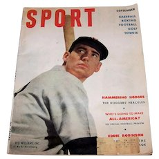 Vintage 1951 Sport Magazine With Ted Williams On Cover