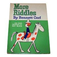 Vintage 1961 Children's Hardback Book Titled More Riddles