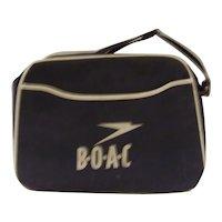 Vintage 1960's Original BOAC Airline Canvas Flight Handbag