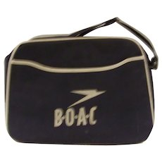 Vintage 1960's Original BOAC Airline Canvas Flight Handbag