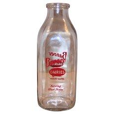Vintage 1958 Banner Dairies Quart Glass Milk Bottle