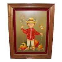Vintage 1970's Framed Lola Cabot Signed Painting  Of  Boy At Harvest Time