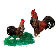Vintage Prop Display Farm Rooster & Hen Chickens