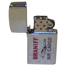 Vintage New Old Stock Braniff Air Cargo Metal Pocket Lighter Manufactured By Park