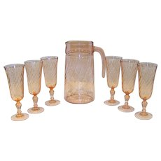 Vintage Rosaline Pink Swirl Champagne Flute Set With Pitcher By Cristal D'Arques-Durand