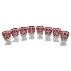 Vintage 1970's Colony Park Lane Ruby Flash Glass Goblet Set