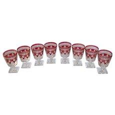 Vintage 1970's Colony Park Lane Ruby Flash Glass Goblet Set