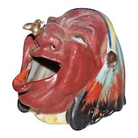 Vintage 1950's Figural Native American Bee On Nose Ceramic Smoking Head Ashtray