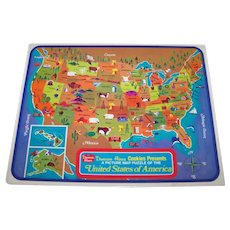Vintage 1960's Duncan Hines Cookies Picture Map Of The United States Of America Interlocking Children's Puzzle