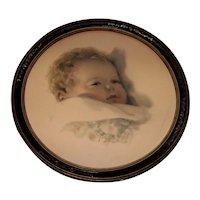 Vintage 1931 Framed Bessie Pease Gutmann Signed Baby Lithograph Titled On Dreamlands Border