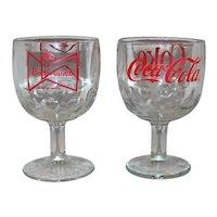 Vintage 1970's Coca-Cola & Budweiser Beer Schooner Glassware