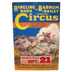 Vintage 1935 Ringling Brothers And Barnum & Bailey Circus Original Advertising Board