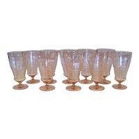 Vintage 1930's Cambridge Glass Company Decagon Peach Flo Iced Tea Footed Tumblers