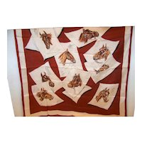 Vintage Ladies Silk Scarf With Horse Motif By Echo