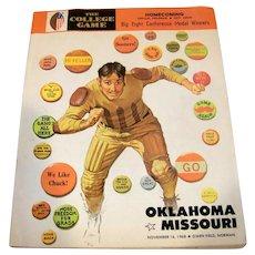 Vintage 1968 Oklahoma vs Missouri Football Game Program