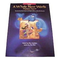 Vintage 1992 Sheet Music From Walt Disney Movie Titled Aladdin